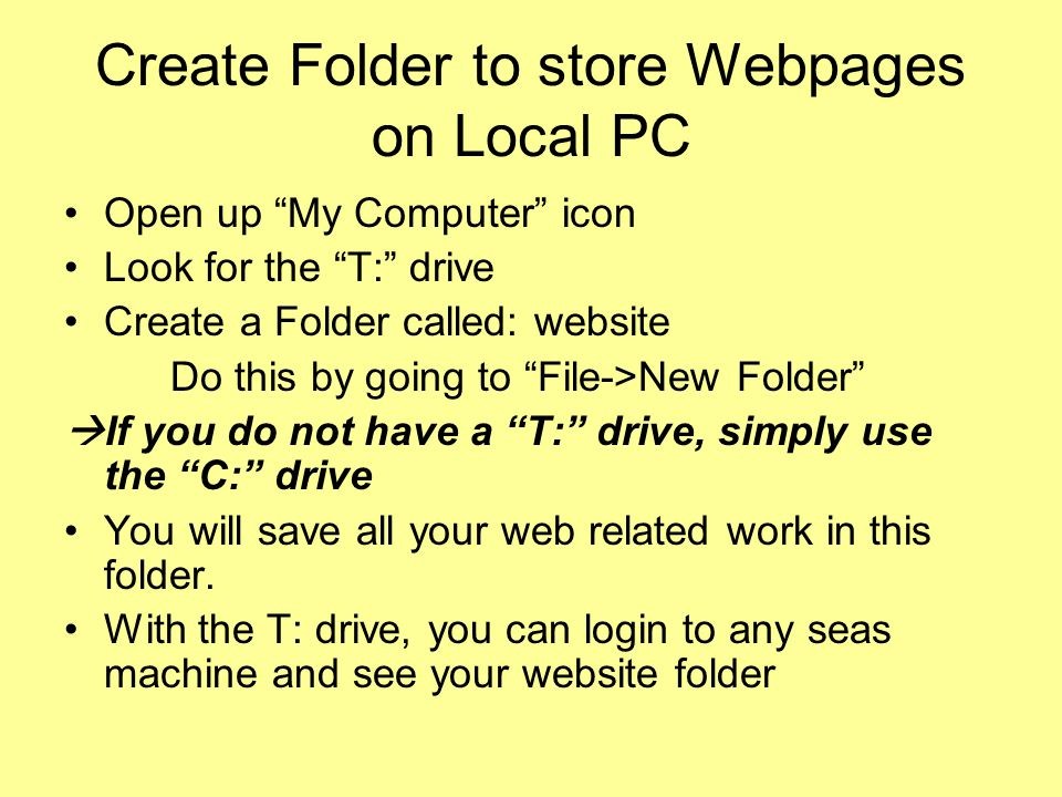 Create Folder to store Webpages on Local PC