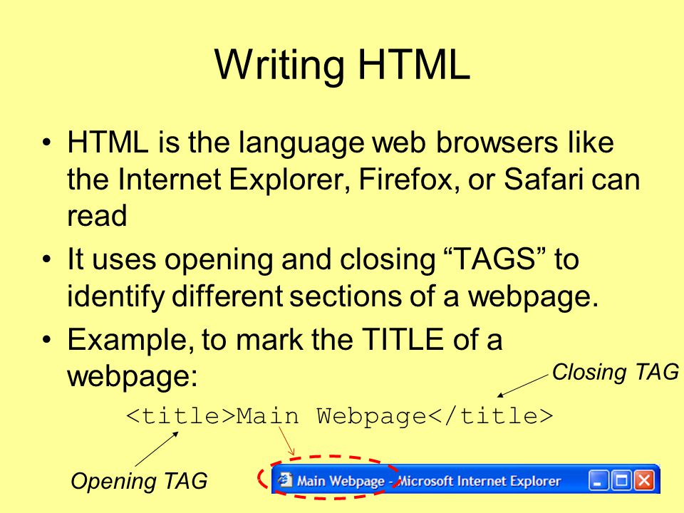 Writing HTML HTML is the language web browsers like the Internet Explorer, Firefox, or Safari can read.