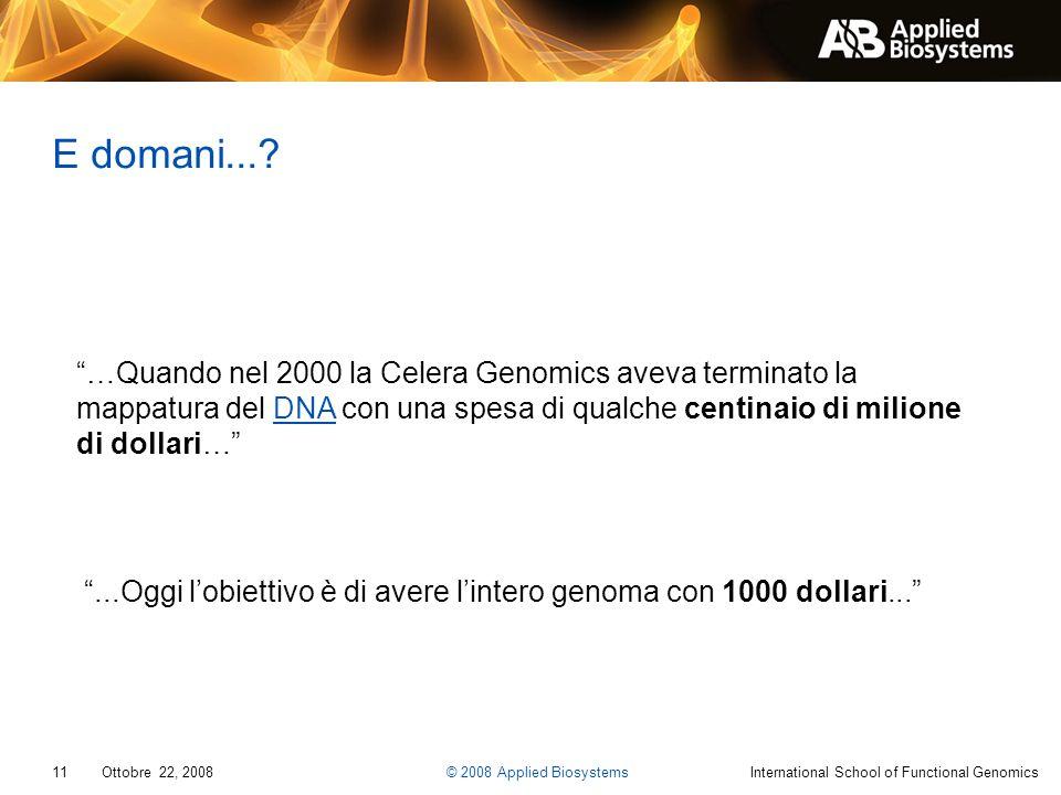 E domani... …Quando nel 2000 la Celera Genomics aveva terminato la mappatura del DNA con una spesa di qualche centinaio di milione di dollari…