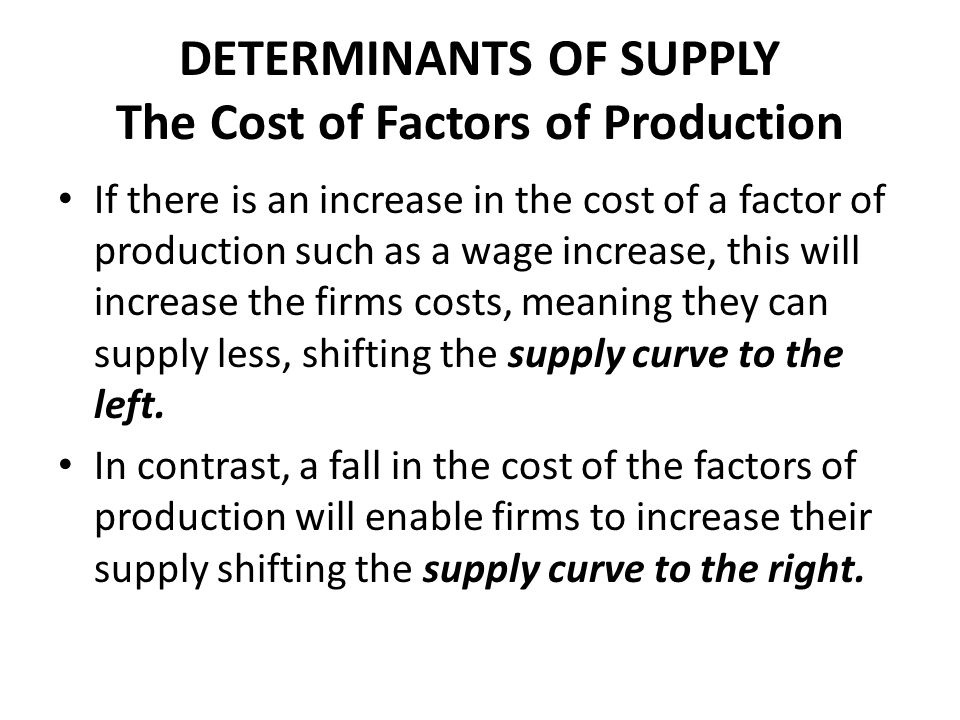 Determinant of supply definition