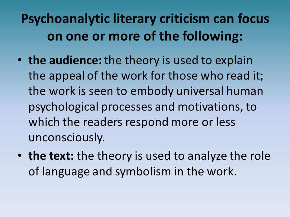psychoanalytic analysis essay Disclaimer: free essays on psychoanalysis posted on this site were donated by anonymous users and are provided for informational use only the free psychoanalysis research paper (analysis of hills like white elephants essay) presented on this page should not be viewed as a sample of our on-line writing service.