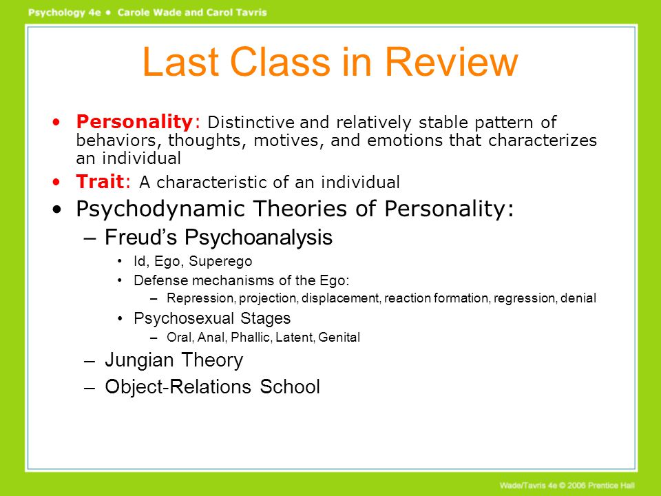 psychodynamic theories of personality Major concepts in psychodynamic theory freud's psychoanalytic theory other theories concept levels of consciousness structure of personality governing principles defense mechanisms stages of.