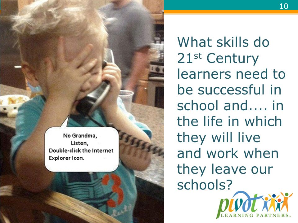 What skills do 21st Century learners need to be successful in school and.... in the life in which they will live and work when they leave our schools
