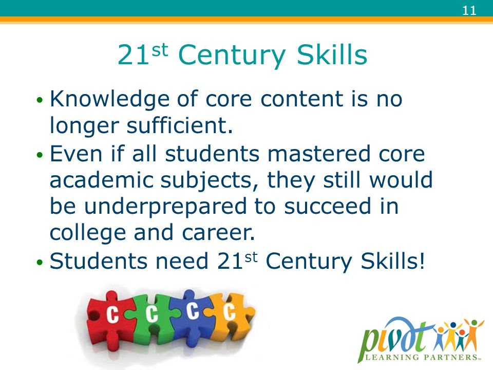 21st Century Skills Knowledge of core content is no longer sufficient.