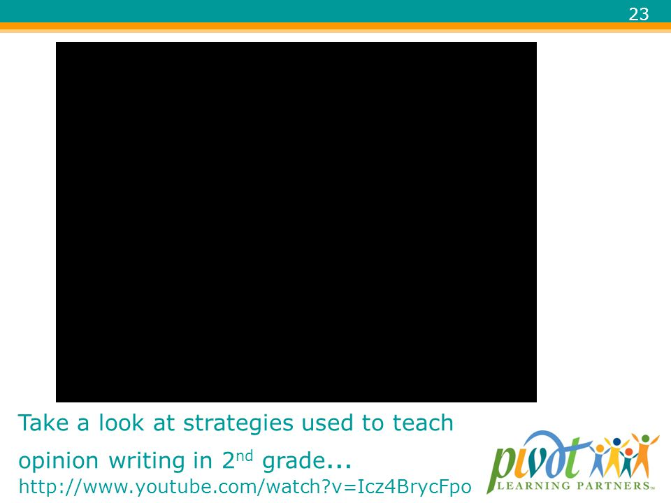 Take a look at strategies used to teach opinion writing in 2nd grade… http://www.youtube.com/watch v=Icz4BrycFpo