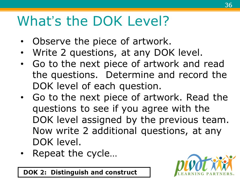 What's the DOK Level Observe the piece of artwork.