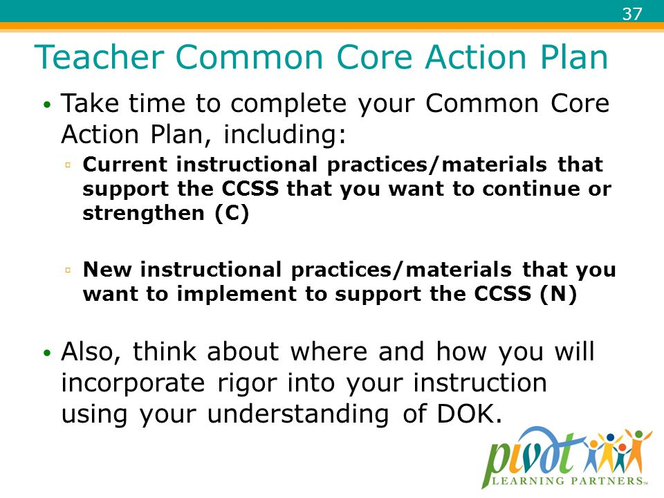 Teacher Common Core Action Plan