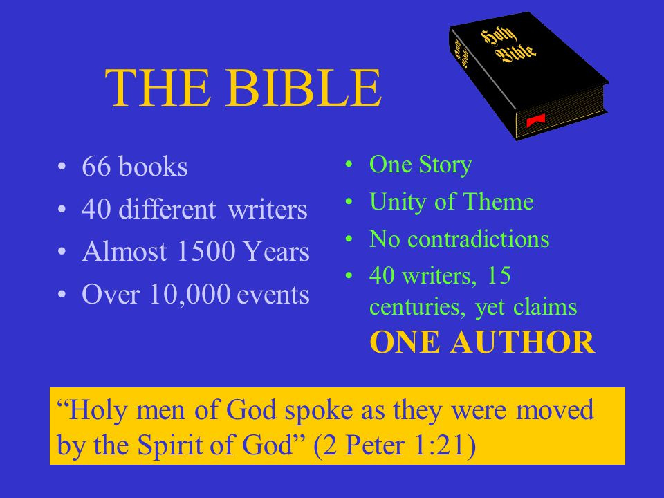THE BIBLE 66 books 40 different writers Almost 1500 Years