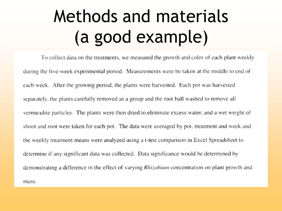 Materials and methods thesis