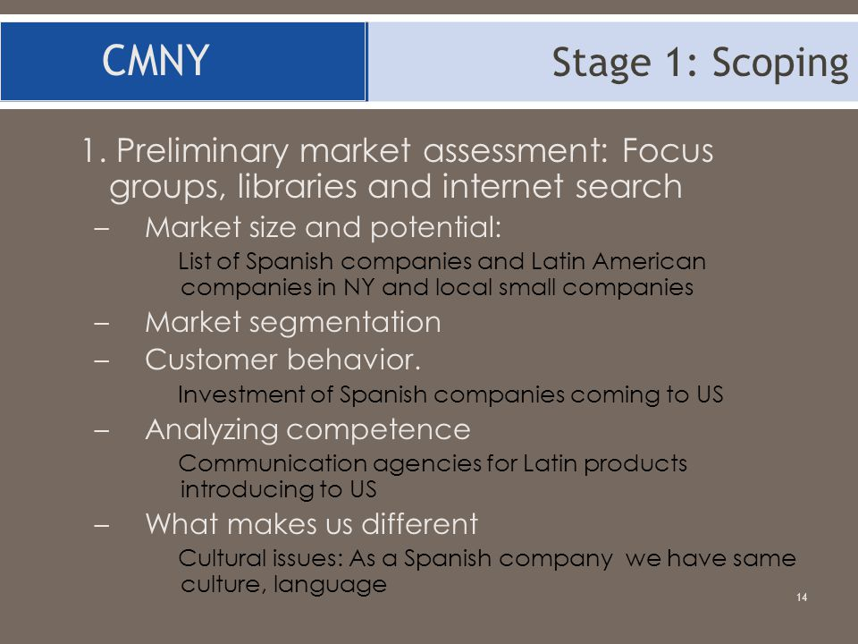 Stage 1: Scoping CMNY. 1. Preliminary market assessment: Focus groups, libraries and internet search.