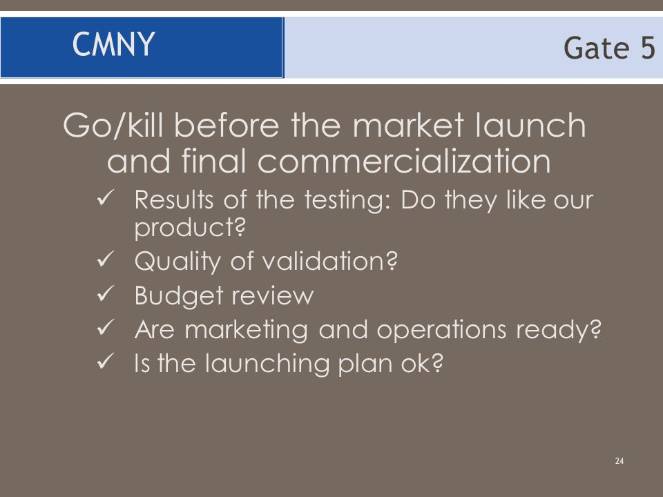 Go/kill before the market launch and final commercialization