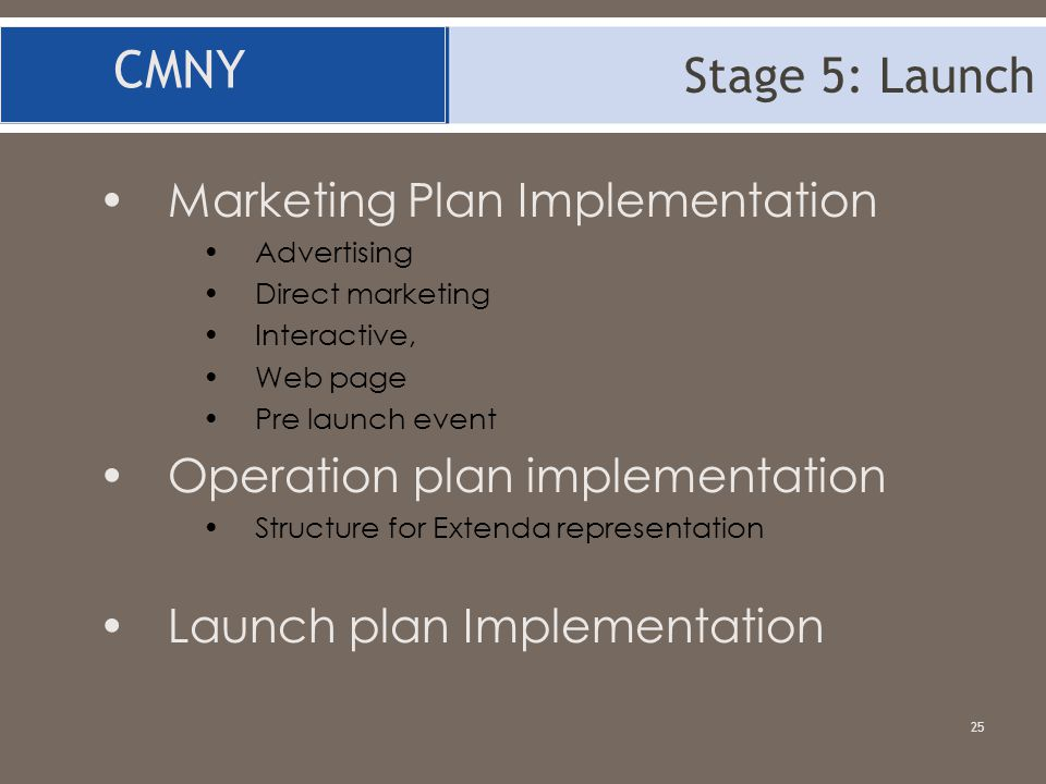 CMNY Stage 5: Launch Marketing Plan Implementation