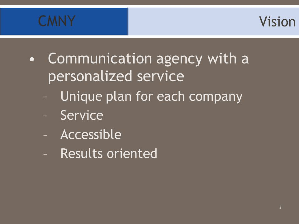 Communication agency with a personalized service