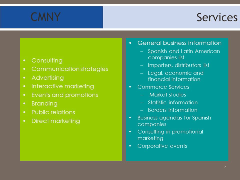 CMNY Services General business information Consulting