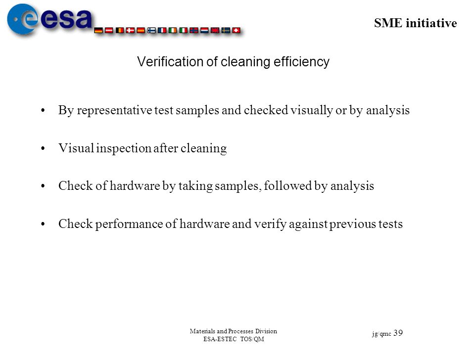 Verification of cleaning efficiency