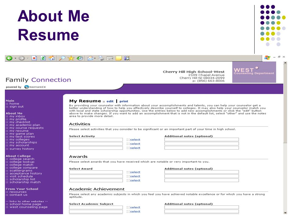 4 about me resume