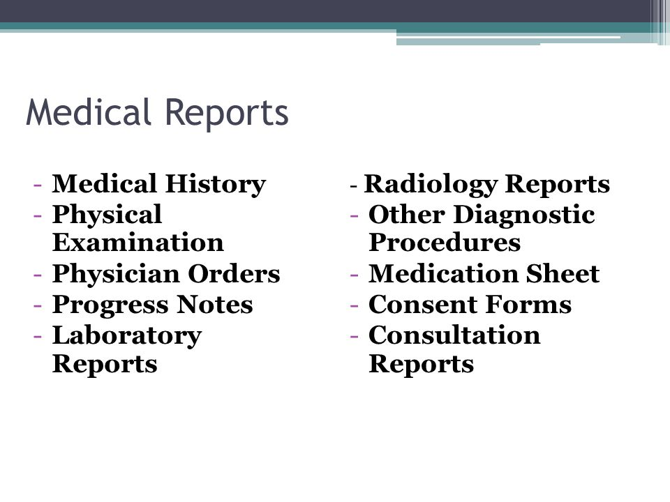Medical Reports Medical History Physical Examination Physician Orders