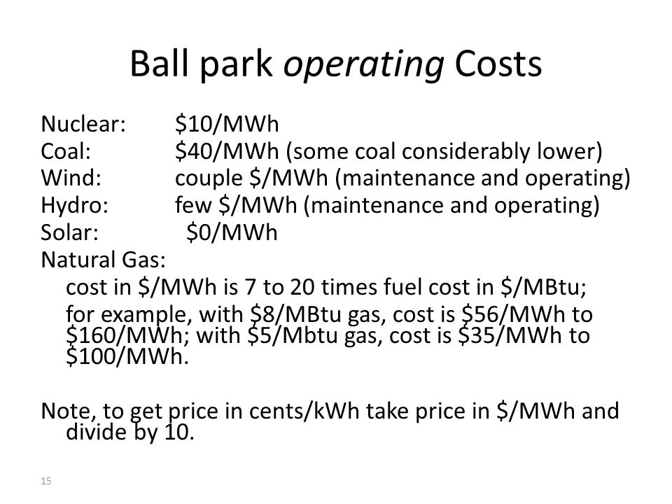 Ball Park Operating Costs