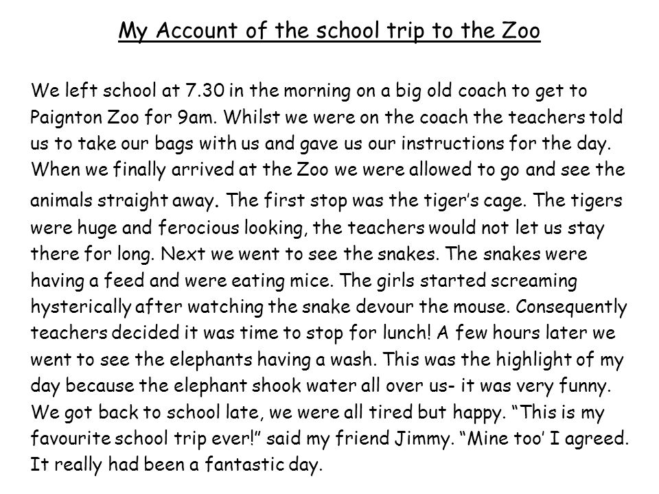 Write a paragraph about your trip to the zoo