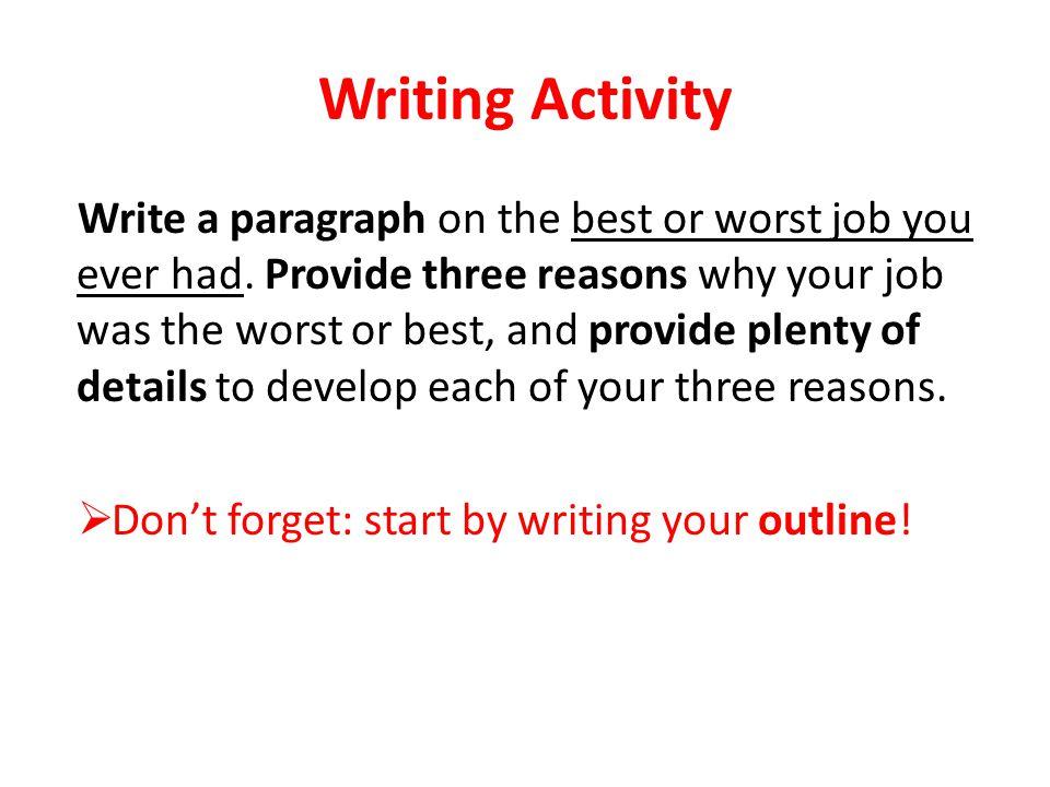 Worst Job Essay