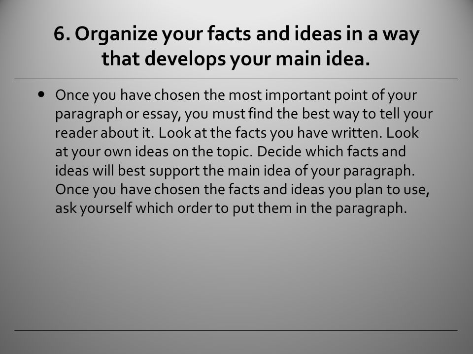 Organize your ideas your essay