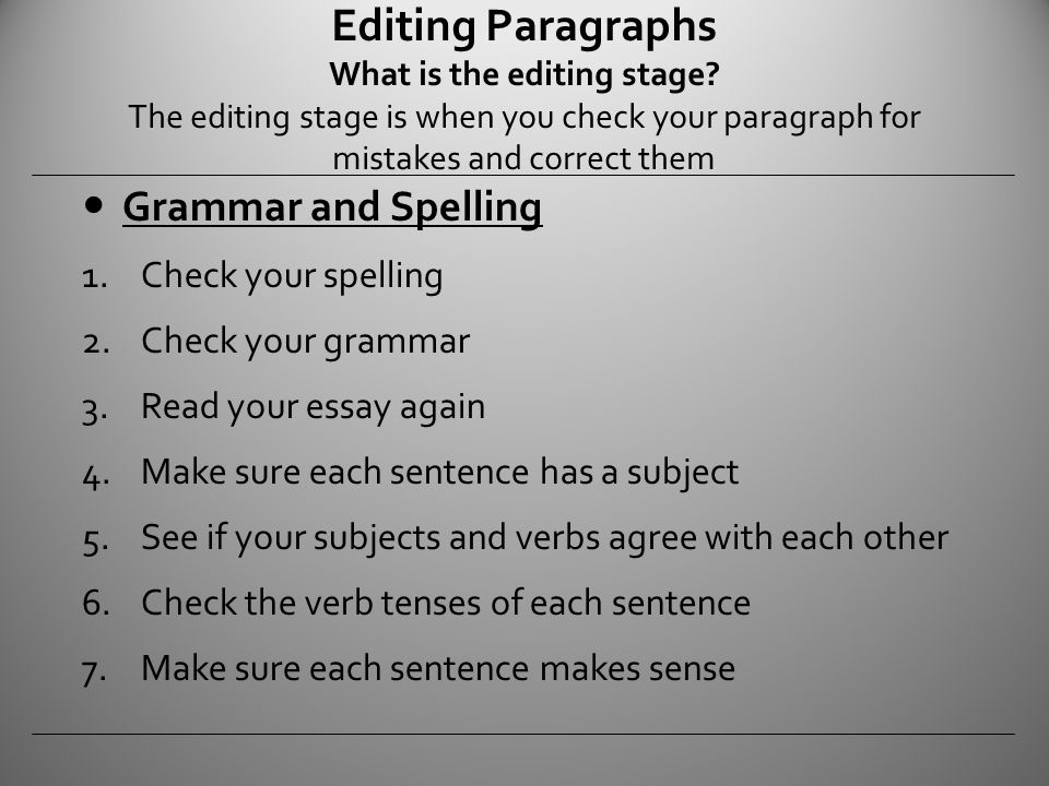 editing essay Make sure that you complete the most important editing and proofreading tasks editing editing is what you begin doing as soon as you finish your first draft.