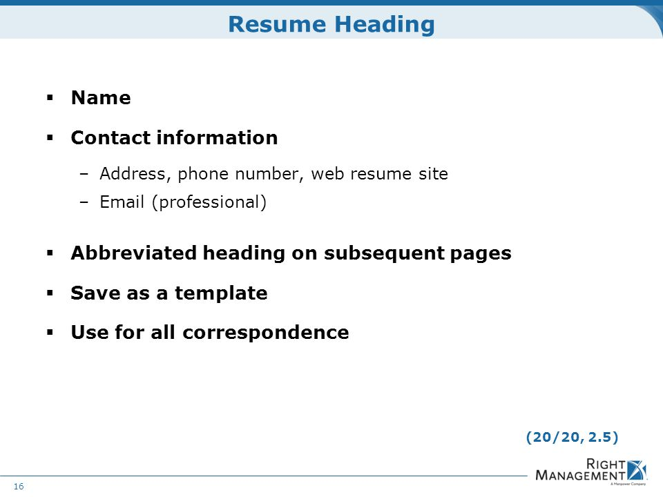 heading of a resume
