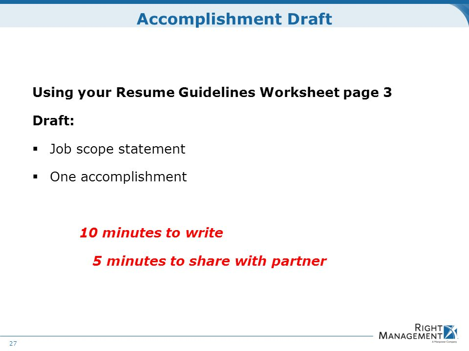 Resume Development WELCOME Materials Resume guidelines worksheets