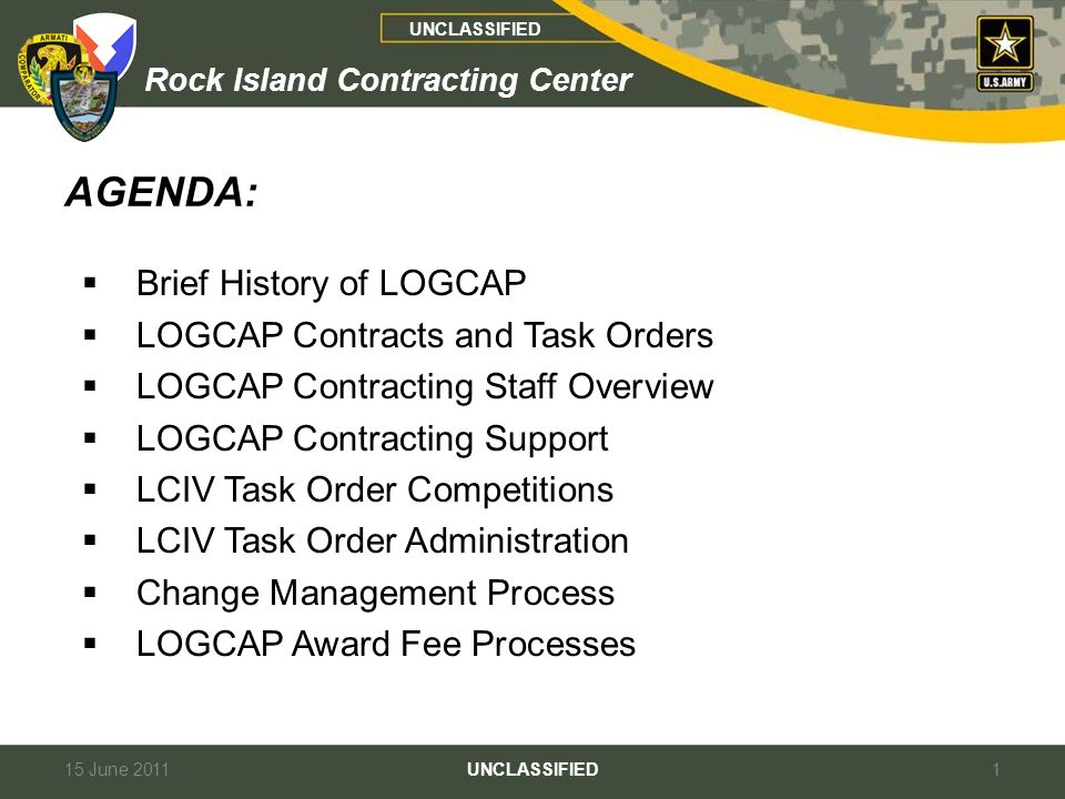 AGENDA: Brief History of LOGCAP LOGCAP Contracts and Task Orders