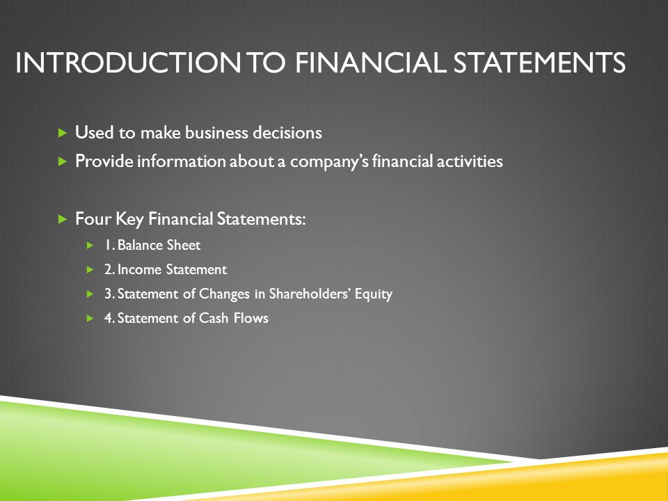 introduction to financial statement Being able to glean information from an income statement, a cash flow statement,  or a balance  the steps of making sense of what is contained in financial reports  and how to read them  introduction to the balance sheet.