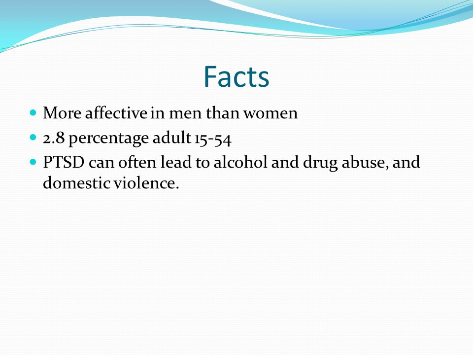 Facts More affective in men than women 2.8 percentage adult 15-54
