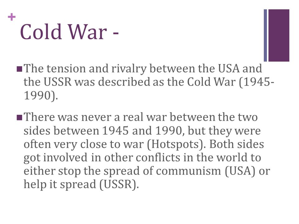 the cold war between the ussr and us The soviet union and the united states relations between the soviet union and the united states were driven by a complex interplay of ideological,  cold war when.