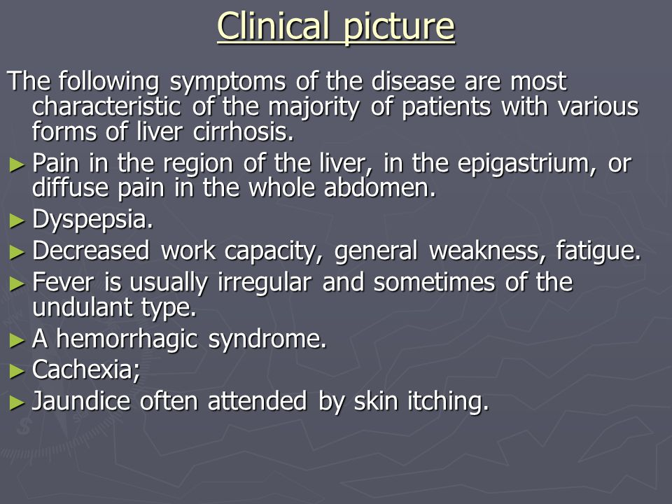 Main symptoms and syndromes in diseases of a liver and ...