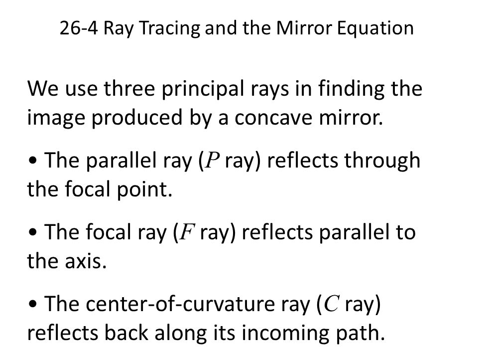 mirror equation Sign convention for spherical mirrors and thin lenses applies to: mirror and thin lens equation: 1/ do + 1/ di = 1/ f magnification equation: image height/object height = hi/ho = -di/do.