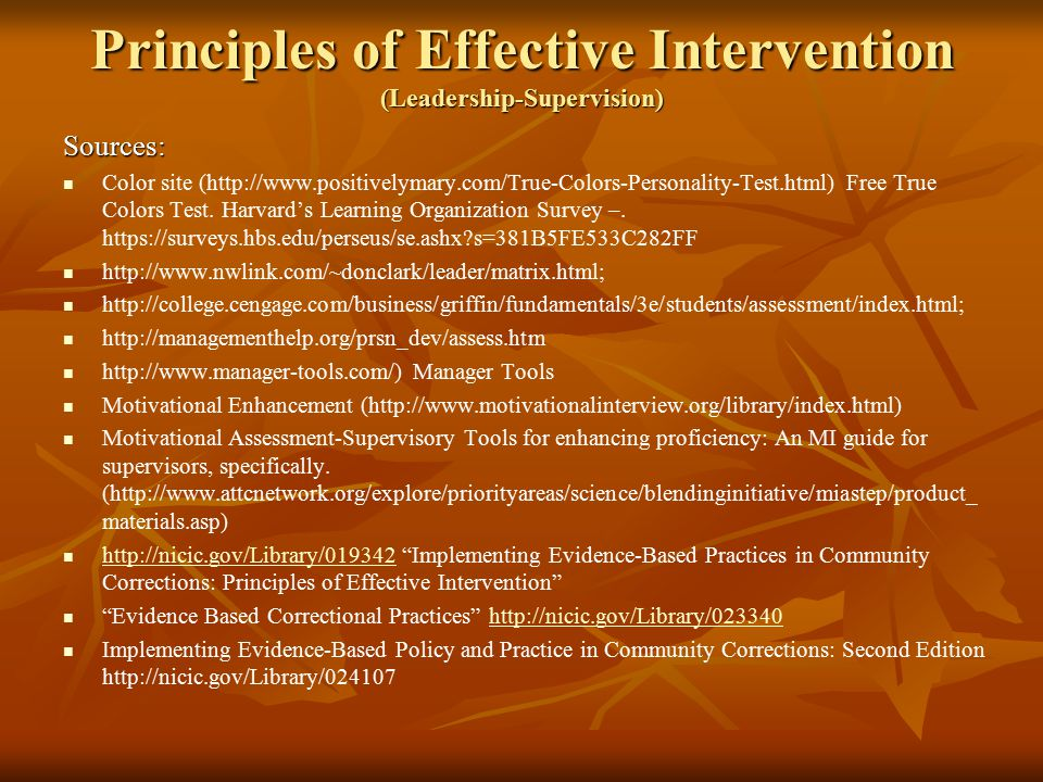 Principles of Effective Intervention SupervisionLeadership