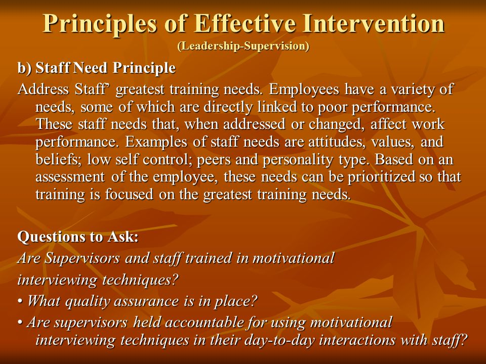 training needs theories and principles Motivation is a complex phenomenon several theories attempt to explain how motivation works in management circles, probably the most popular explanations of motivation are based on the needs of the individual the basic needs model, referred to as content theory of motivation, highlights the.
