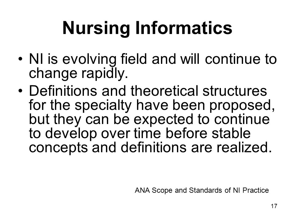 Nursing Informatics NI is evolving field and will continue to change rapidly.