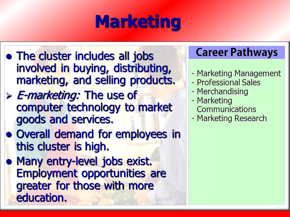 Marketing The cluster includes all jobs involved in buying, distributing, marketing, and selling products.