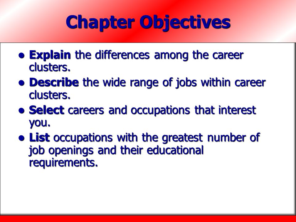 Chapter Objectives Explain the differences among the career clusters.
