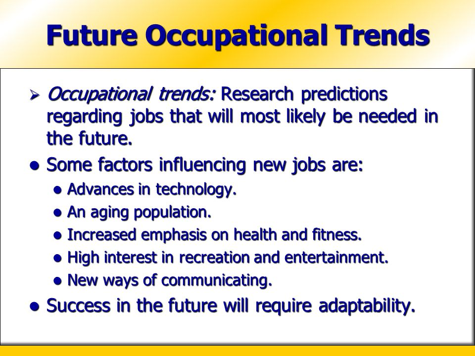Future Occupational Trends