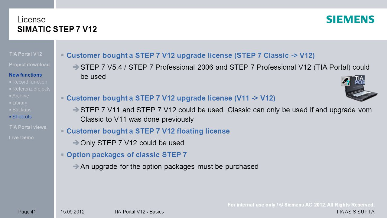 Tia portal v12 ppt download license simatic step 7 v12 tia portal v12 customer bought a step 7 v12 upgrade fandeluxe Choice Image