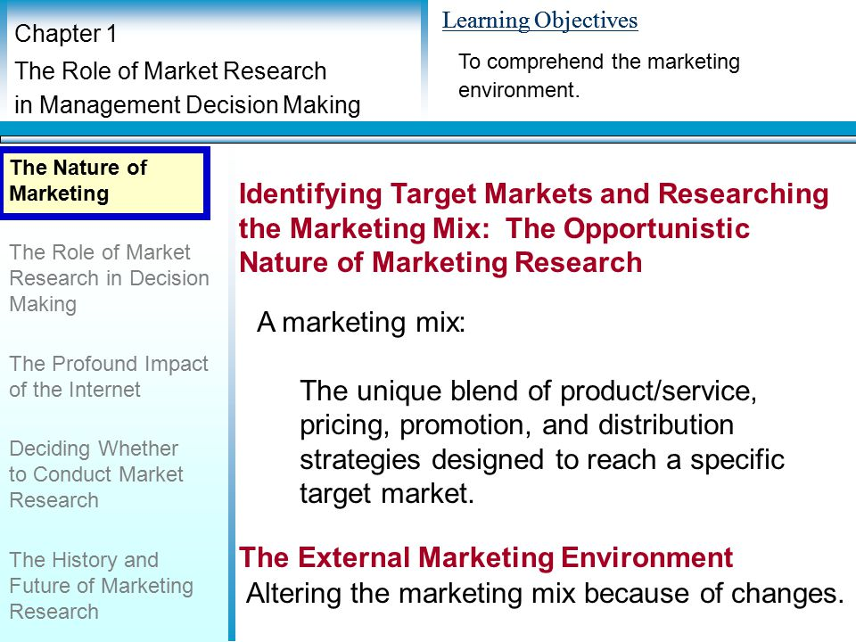 marketing mix research This article contains analysis of each element of marketing mix by using a variety of secondary data sources the notion of marketing mix refers to.