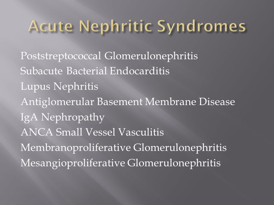 Acute Nephritic Syndromes