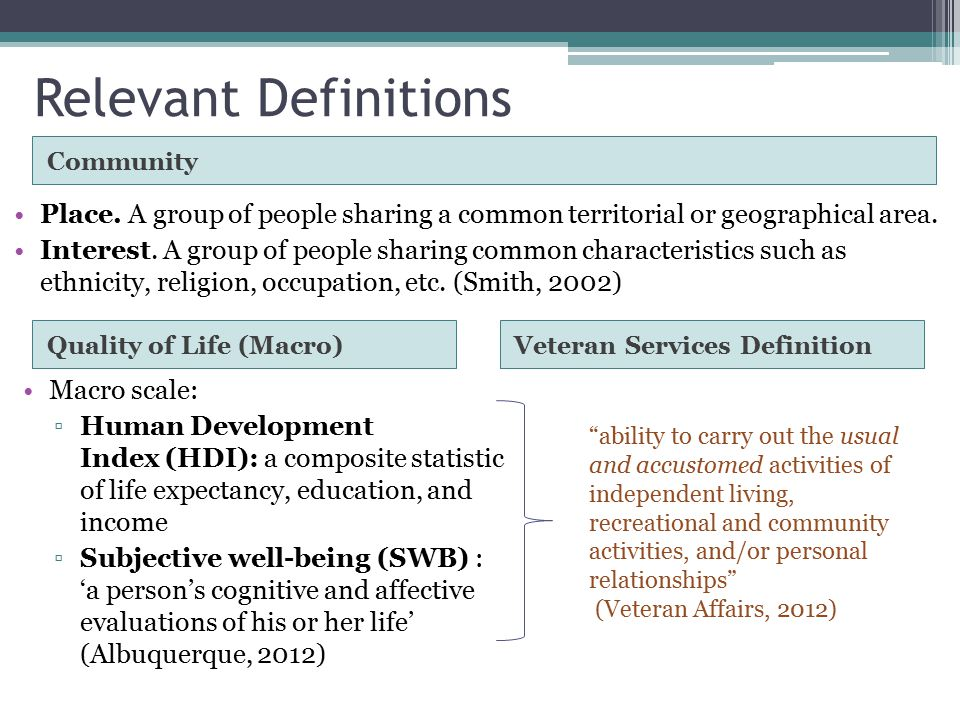 2 Relevant Definitions ...