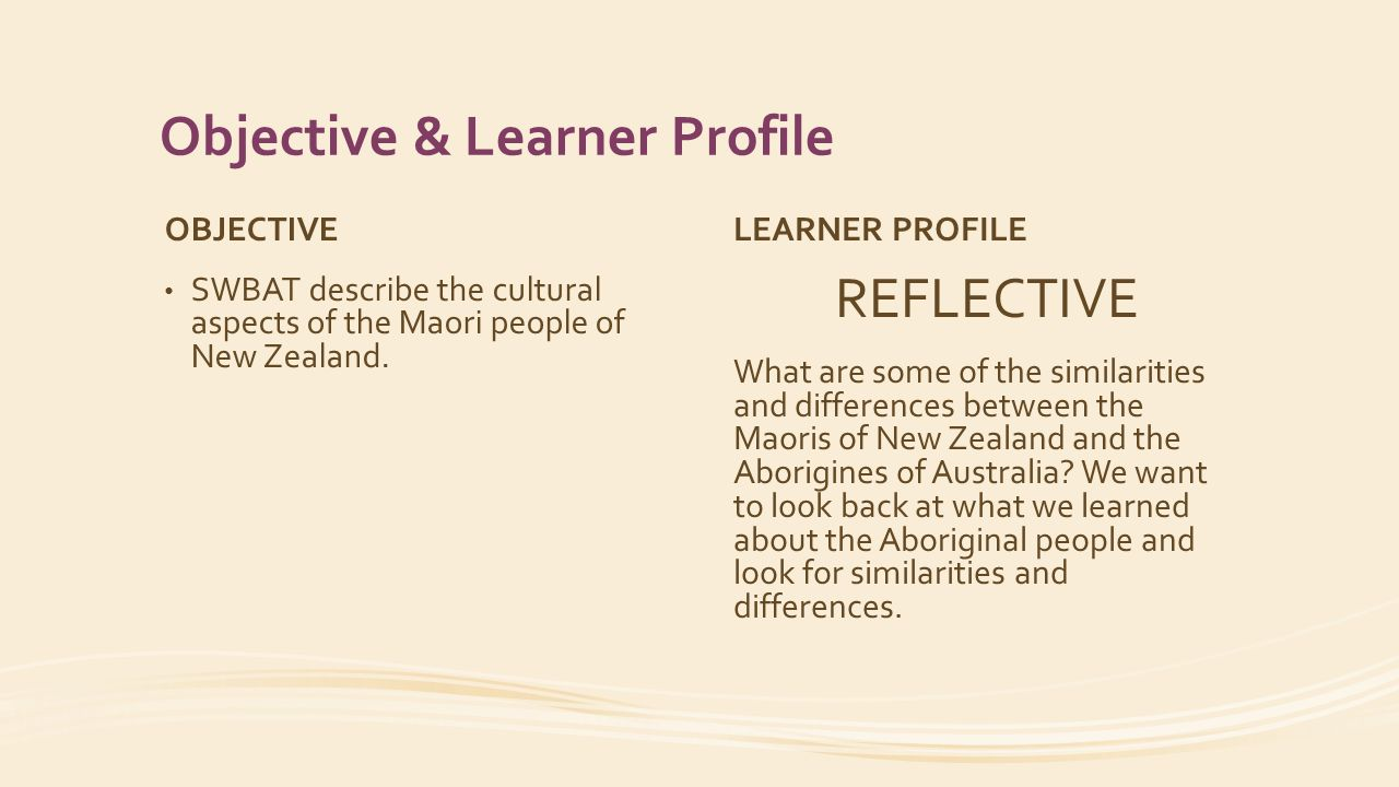 Objective & Learner Profile