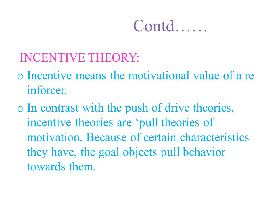Contd…… INCENTIVE THEORY: