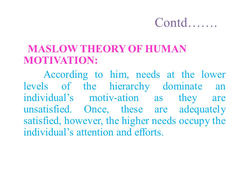 Contd……. maslow theory of human motivation: