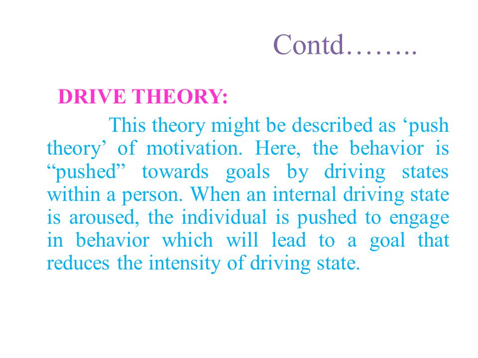 Contd…….. DRIVE THEORY:
