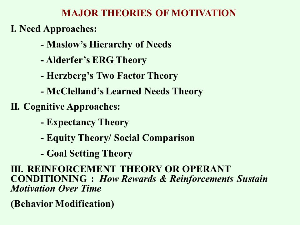comparison of erg theory with maslow theory However, we would be comparing in this work, motivational theories of maslow, herzberg and mcclelland with a quest to understanding their own view as well as see the similarities criticisms as well as differences between these theories abraham maslow- hierarchy of needs maslow portrayed the.