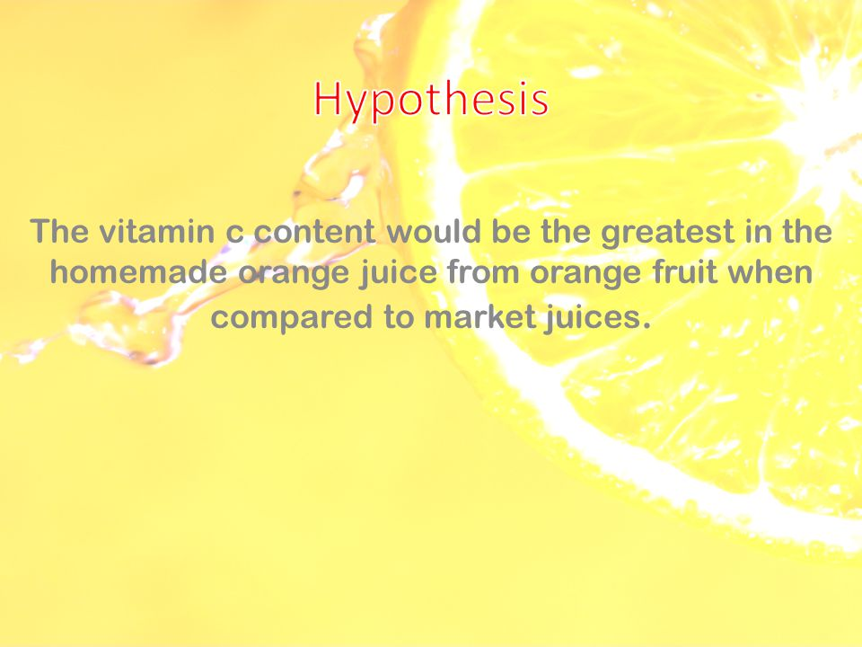 vitamin c content in orange juices essay Orange juice is currently the subject of investigations that aim to discover whether it is definitively linked to a lowered risk of gastric ulcers thus far, it has been established that people who have high levels of vitamin c in their systems are at least 25% less likely to be infected with h pylori (a bacterium that.